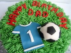 Darling pitch, soccer ball & jersey birthday cake for a Dad. :-)