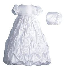 Amazon.com: Lauren Madison baby girl Christening Baptism Newborn Taffeta Gown With Embroidery: Clothing