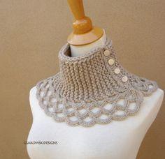 Virginia- Wool Scarflette-Linen... figure out pattern