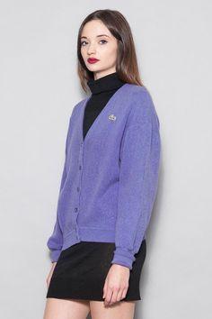 90's Purple Lacoste Pure Wool Cardigan | REAL FRIENDS