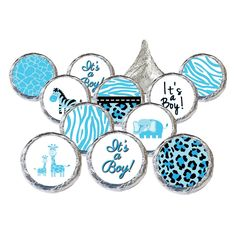 Boy Baby Shower - Blue Sweet Safari Jungle Collection Stickers for Hershey Kisses (Set of 324)
