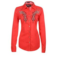 Roar Women's Bonfire Tribal Embroidery Western Shirt - Man would sure be nice to have this whizzing by the boys! :)