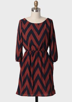 Along The Boulevard Chevron Dress In Sienna