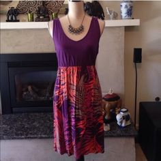 Beautiful summer dress Medium M coral & purple This is so comfortable! Great to slip on and enjoy your summer day. Sonoma. Size MEDIUM. Dress only, necklace not included Dresses