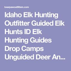 Idaho Elk Hunting Outfitter Guided Elk Hunts ID Elk Hunting Guides Drop Camps Unguided Deer And Elk Hunts