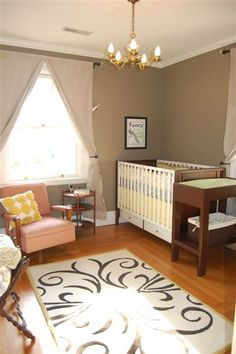 Love the gray, yellow & pink- this would be a good room color for me.