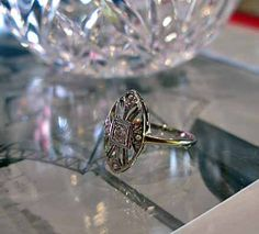 Antique Engagement Ring 14K Diamond. $399.00, via Etsy.