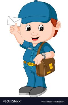 Postman cartoon vector image on VectorStock Preschool Jobs, Color Worksheets For Preschool, Activities For Kids, Cartoon Cartoon, Happy Cartoon, Community Helpers Worksheets, Community Helpers Preschool, Speech Therapy Games, Dinosaur Images
