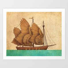 Winged Odyssey Art Print by Terry Fan - $18.00 http://society6.com/product/come-sail-away-5ie_print?curator=MapsMapsMaps