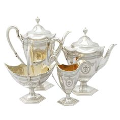 'Antique Silver Tea and Coffee Service' An exceptional, fine and impressive antique Victorian English sterling silver four piece tea and coffee service/set. Coffee Service, Tea Service, Vintage Silver, Antique Silver, Vintage China, Vintage Tea, Silver Teapot, Coffee Set, Victorian
