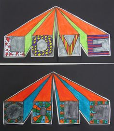 ABC School Art: grade - would be better if rather than squares, emphasized the block shape of the letters Classroom Art Projects, School Art Projects, Art Classroom, Middle School Art, Art School, Art Sub Lessons, Drawing Lessons, 6th Grade Art, Grade 3