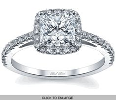 Princess Cut Halo Engagement Ring - click to enlarge