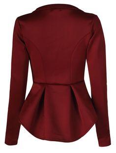 Fast Fashion Damen Mit Langen Ärmeln Rüschen Verschieben Ausgestattet Unteren Rücken Peplum Blazer: Amazon.de: Bekleidung