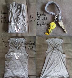 DIY Tutorial: DIY Clothes / Upcycle T-shirt into Workout T-shirt and Braided Wristlet Key Chain - No Sewing Needed - Createsie - Bead&Cord Diy Clothes Closet, Diy Summer Clothes, Diy Clothes Rack, Diy Clothes Refashion, Diy Clothing, Shirt Refashion, Clothing Patterns, Diy Clothes Videos, Diy Fashion