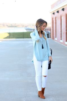 love this light blue color with white jeans