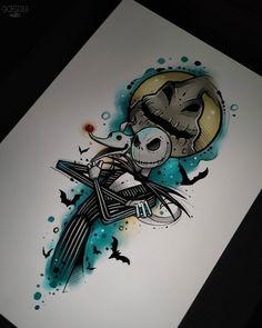 Nightmare before Christmas drawings nightmare before christmas Cool Art Drawings, Art Drawings Sketches, Disney Drawings, Tattoo Drawings, Tim Burton Kunst, Tim Burton Art, Jack Tattoo, Disney Tattoos, Tattoo Ideas