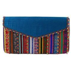 NOVICA Handcrafted Multicolored Polyester Rabari Clutch from India