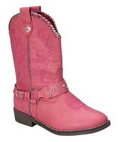 Another great find on #zulily! Pink Buckle Cowboy Boot #zulilyfinds