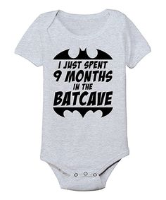 Loving this KidTeeZ Athletic Heather '9 Months in the Batcave' Bodysuit - Infant on #zulily! #zulilyfinds