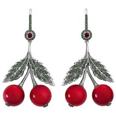 Axenoff Jewellery Red Cherry Garnets Earring ($3,200) ❤ liked on Polyvore featuring jewelry, earrings, red, red jewelry, red jewellery, red garnet jewelry, garnet earrings and garnet jewelry