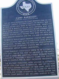 Camp Barkeley Historical Marker