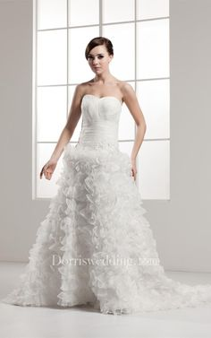 #Valentines #AdoreWe #Dorris Wedding - #Dorris Wedding Sweetheart Ruffled A-Line Criss-Cross Gown With Beading - AdoreWe.com
