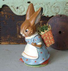Vintage Paper Mache Easter Bunny with Basket by TinselandTrinkets, $99.99