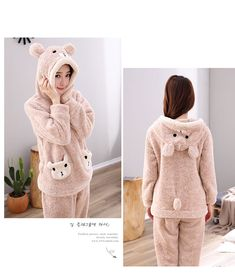 Women Cat Bear with Hat Thick Flannel Pajamas – LoveLuve Cute Pajama Sets, Cute Pajamas, Flannel Pajamas, Pyjamas, Pajama Outfits, Crop Top Outfits, Girls Fashion Clothes, Teen Fashion Outfits, Cute Comfy Outfits