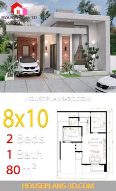 House design with 2 Bedrooms Terrace roof – House Plans – Home decoration ideas and garde ideas Simple House Design, House Front Design, Minimalist House Design, Tiny House Design, Modern House Design, Little House Plans, Small House Plans, House Layout Plans, House Layouts