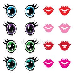 Buy Kawaii Cute Eyes and Lips Icons Set by RedKoala on GraphicRiver. Kawaii body parts – big eyes, lips icons isolated on white FEATURES: Vector Shapes All groups have names All el.Find Kawaii Stock Images in HD and millions of other royalty-free s Cute Eyes, Big Eyes, Doll Eyes, Doll Face, Flower Pot People, Face Template, Eye Stickers, Cartoon Eyes, Clay Pot Crafts