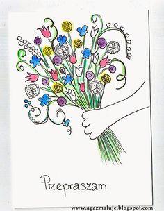 kartka, przepraszam, bukiet kwiatów