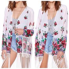 ***FLASH SALE** Lola Fringe Kimono $36 shipped Size: XS-2X Color: white Quantity: 4x[XS/Small/Medium/Large/XL/2X] Ships by Saturday  To BUY: Comment with your email address. A secure PayPal checkout link will be emailed to you.  #fringekimono #kimono #floral #floralkimono #clothing #shopping #girly #girl #girls #ootd #tbt #tflers #igers #whatiwore #currentlywearing #fashion #fashionaddict #fashiondiaries #swag #amazing #picoftheday #instagood #instasale #sale #freeshipping #flashsale