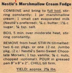 Marshmallow Creme Fudge | Marshmallow Cream Fudge Recipe Clipping | RecipeCurio.com