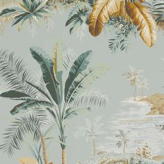 Palm trees wallpaper, Alexandrie FP192 fabric by Pierre Frey