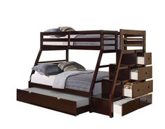 ACME Furniture Jason Twin over Full Bunk Bed with Storage Ladder & Trundle, Espresso Twin Full Bunk Bed, Bunk Bed With Trundle, Bunk Beds With Stairs, Kids Bunk Beds, Full Bed, Bunk Beds With Storage, Bed Storage, Storage Drawers, Acme Furniture