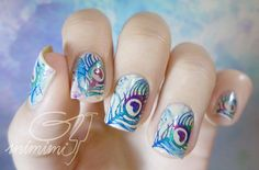 peacocks #nail #nails #nailart I thnk these r perfect I love them in everyway im saving ths pic so i can have my nails done like this for my wedding!!
