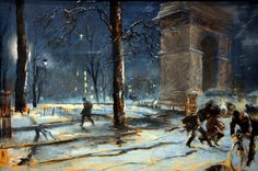 Everett Shinn - Washington Square, New York, 1910