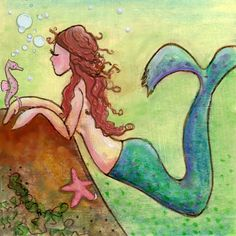 Mermaid and Seahorse • Acrylic Canvas Painting