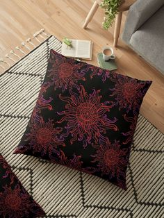'Red Acid Sun' Floor Pillow by EddieBalevo Laptop Cases, Phone Cases, Wall Tapestries, Tapestry, Floor Pillows, Bed Pillows, Psychedelic Pattern, Bed Wall, Throw Blankets