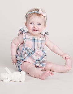 Cotton Tartan Butterfly Sleeve Baby Romper | Seraphine Baby