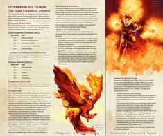 Homebrewing design The Elder Elemental: Phoenix (Revised) Dungeons And Dragons Classes, Dungeons And Dragons Homebrew, Dungeons And Dragons Characters, Dnd Characters, Warlock Class, Warlock Dnd, Dnd Classes, Dnd Races, Dnd 5e Homebrew
