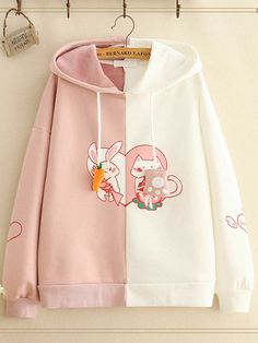 Amazing Cute Rabbit Ears Patchwork Pullover Thick Hoodie for Women on Newchic, there is always a plus size hooded sweatshirts that suits you! Kawaii Fashion, Cute Fashion, Look Fashion, Korean Fashion, Fashion Outfits, Stylish Hoodies, Cute Hoodie, Kawaii Clothes, Cute Casual Outfits