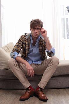 plaid blazer, pastel blue button up, oxford and khaki pants