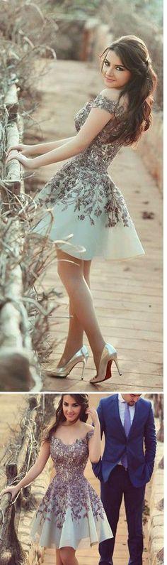 Chic Homecoming Dress,Short Prom Dresses,Sweet 16 Homecoming Dresses,Modest Cocktail Dress,Appliques Junior Sexy Homecoming Dresses 2017,Homecoming Dress #shortpromdresses