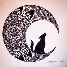 Wolf in the moon black ink mandala drawing #brusho