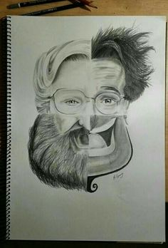 Drawing Faces Design Awesome tribute to Robin Williams! Would make a cool art project/practice with drawing faces - Drawn Art, Wow Art, Art Plastique, Cool Drawings, Drawing Faces, Pencil Drawings, Amazing Drawings, Art Sketches, Amazing Art