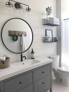 Vintage Ideas Stunning Modern Farmhouse Bathroom Decor Ideas 23 - For this reason, you've got to make sure the bath decor style you've chosen will blend nicely with the space […] Downstairs Bathroom, Upstairs Bathrooms, Master Bathroom, Bathroom Sinks, Design Bathroom, Gold Bathroom, Round Bathroom Mirror, Shiplap Bathroom Wall, Bathroom Remodel Small