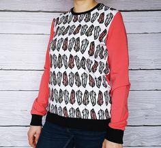 Sweat plumes, coton chaine, blouse en coton, blanc noir fraise : Chemises, blouses par atelier-mademoiselle-k