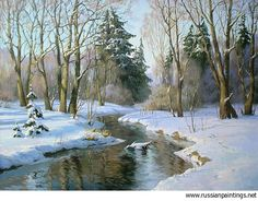 Osinyn Pavel - 'River in Winter Forest' Art Watercolor, Watercolor Landscape, Landscape Art, Landscape Paintings, Painting Snow, Winter Painting, Winter Art, Winter Scenery, Snow Scenes