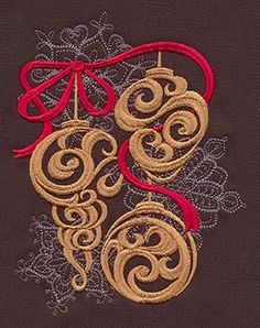 """Baroque Noel - Ornaments"" Craft a glamorous Christmas with this beautiful, swirling ornament design! - UT7126 (Machine Embroidery) 00572034-112013-0830-6"